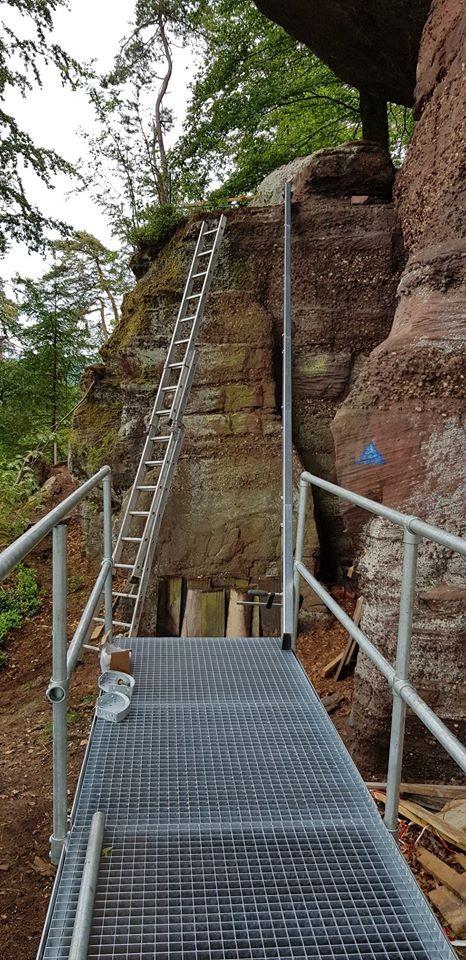 Restauration escalier au rocher du petit moulin