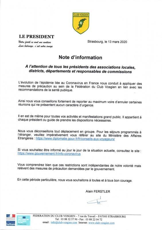 Message federation sur coronavirus 1