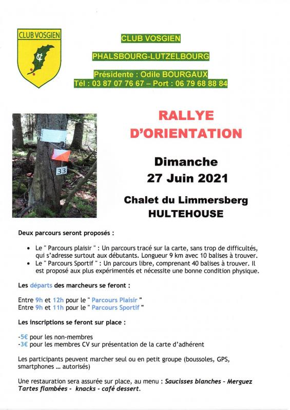 Rallye d orientation 27 juin 2021